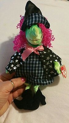 "TY 2000 Beanie Baby Halloween Witch "" Scary"" Girl's stars pink black hat"