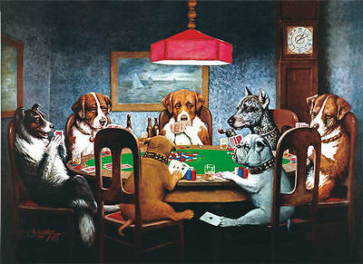 DOGS PLAYING POKER - Canvas Print Poster 8X10""