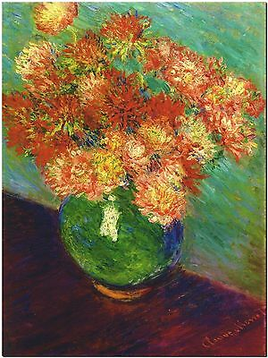 CLAUDE MONET Vase of Chrysanthemums - Canvas Print Poster 8X10""