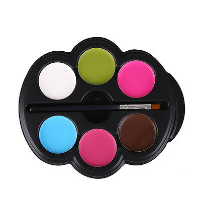 Rainbow Body Paint Color Neon UV Glowing Face Makeup Palette Temporary