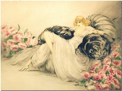 Louis Icart - Woman and Peonies - Canvas Print Poster 8X10""