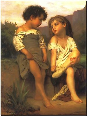 Edge of the Brooke by William Bouguereau Canvas Print Poster 8X10""