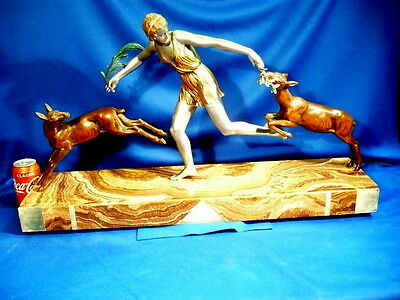 Fantastic 1920 Huge Art  Deco Semi Nude Girl With Two Deer Sculpture Collectable