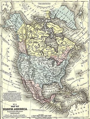 "1800 North America Map Canvas Print Poster 12X16"" #2"