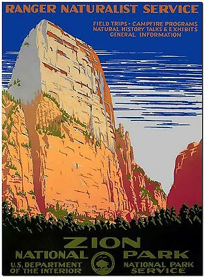 Vintage Travel Poster USA Zio National park Canvas Print 8X10""