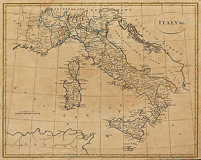 Vintage Italy Map 1799 Canvas Print Poster 8X10""