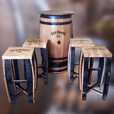 Recycled Solid Oak Jack Daniel's Branded Whisky Barrel Patio Table and Stool Set