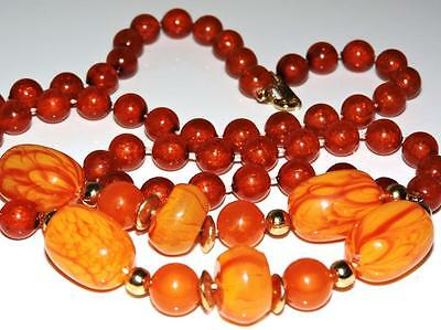 """Fabulous Art Deco Tequila Sunrise And Amber Lucite Celluloid Necklace 36""""long"""