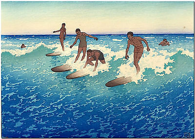 Vintage Hawaii Surfing Art High Quality Canvas Print Poster 8X10""