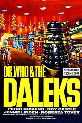 DR WHO - Cool Retro Daleks - Canvas Print Poster 8X12""