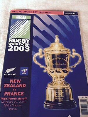 Rugby Union World Cup 2003 Program - New Zealand v France