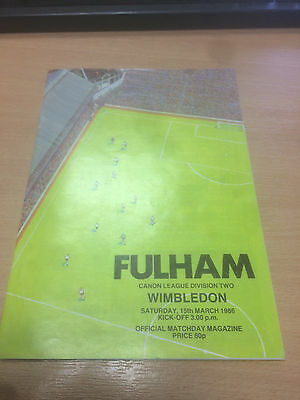 Fulham v Wimbledon - Programme - 15th March 1986  - Division Two
