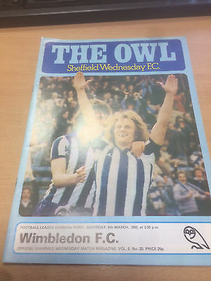 Sheffield Wednesday v Wimbledon - Programme - 8th March '80  - Division Three