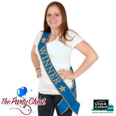 BLUE SATIN 'WINNER' SASH Event Winners Blue and Gold Sash 60554