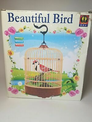 Singing Chirping Bird in Cage Realistic Sounds Movements Music Box Mechanic NEW