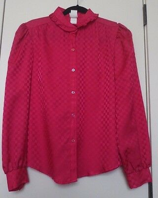 Vintage Queens Way to Fashion Deep Rose Rayon Blend Blouse Top Women's Size 12