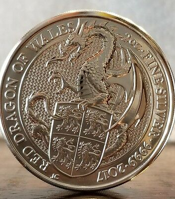 2017 Queen's Beast the Red Dragon Wales  2 oz .9999 silver coin 5 pound Brexit