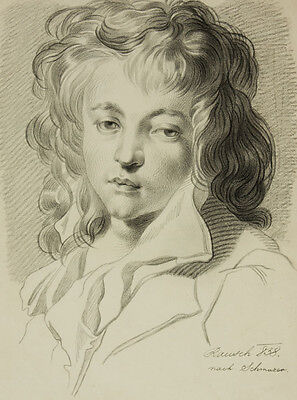 After Jakob Matthias Schmuzer - 19C Graphite Drawing, Portrait of a Young Boy