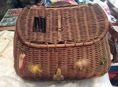 Antique Large Wicker Fishing Creel with baits