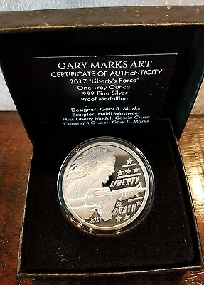 2017 Liberty's Force Proof 1 OZ .999 Silver Gary Marks Art liberty or death