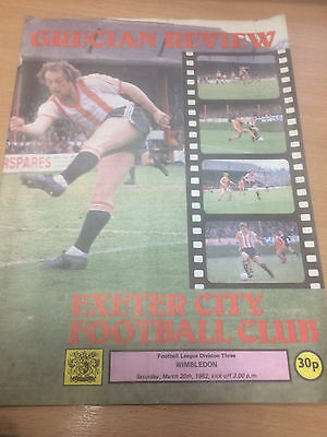 Exeter City v Wimbledon - Programme - 20th March 1982 - Division Three