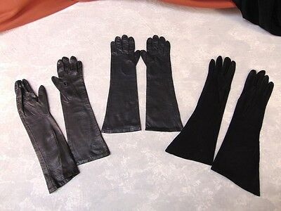 2 Pair ARIS OF PARIS Real Kid Leather Silk Lined Black Gloves sz 7 + Soft Suede