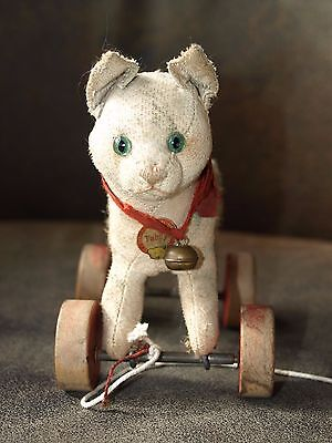 Vintage Steiff Cat on Wheels Tag Tabby Red Wheels Not Concentric Wheels 1940s