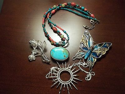 Vintage Jewelry .925 Sterling Silver Barse Turquoise Necklace Fossil Watch Pins