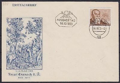 DDR FDC 384 mit Tagesstempel Berlin 16.10.1953, first day cover