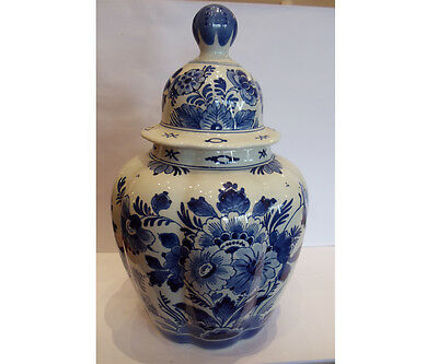 Delft Porceleyne Fles Handpainted Blue Jar with Domed Cover