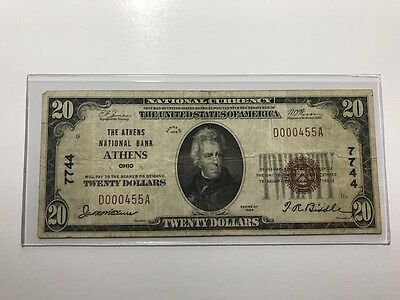 1929 $20 NATIONAL BANK NOTE ~ ATHENS, OHIO ~ Charter #7744