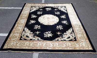 Art Deco Chinese Dragon Carpet With Charcoal Black Colour ground