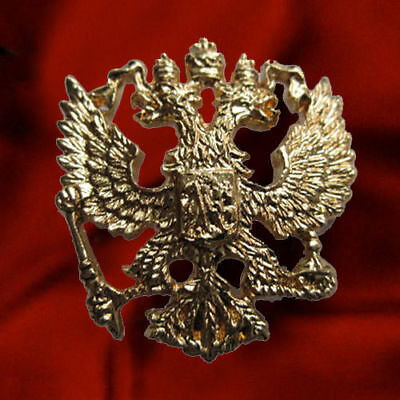 Russia State Coat Of Arms Russian Imperial Eagle Crest Gold Plated Lapel Pin