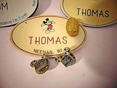 Rare Original Disney Cast Member 10 Year Service Pin On Name Tag W Bonus Tags