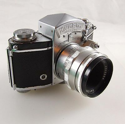 Exakta Varex IIa SLR 35mm film camera with Tessar2.8  50mm lens 1957