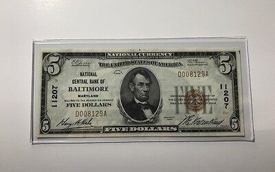 1929 $5 National Bank Note ~ Baltimore Maryland National Central Bank Super Note