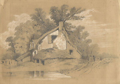 English School Late 19th Century Graphite Drawing - House in a Landscape