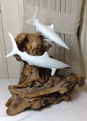 "Vintage Beautiful John Perry 2 Dolphins Sculptures On Burl Wood Base 14.25"" H"