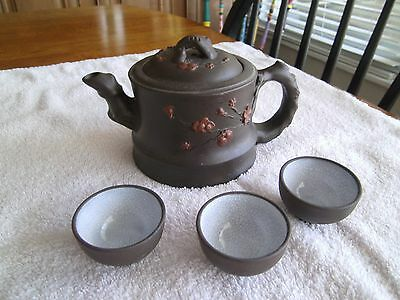 Antique Chinese Enameled Yixing Clay Teapot & 3 Cups~ Signed on Lid and Bottom