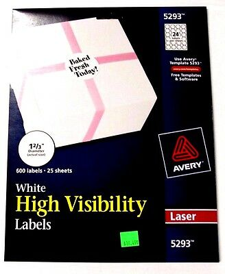 "Avery 5293 White High Visibility Labels 1 2/3"" Diameter, 600 Labels / 25 Sheets"