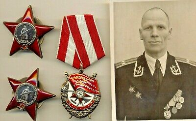 Russian Soviet Medal Order Badge  Red star  Red Banner and Photo (1040)