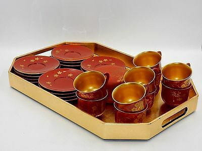 Vintage Made In Occupied Japan Faux Lacquered Red & Gold Wood Demitasse Tea Set
