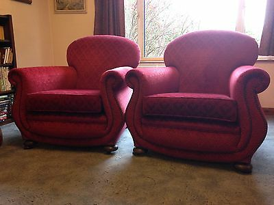 Pair of 1930's Club Chairs. Vintage retro chic