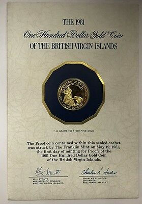 1981  British Virgin Islands $100 Proof Gold Coin  Struck  First Day Of Minting