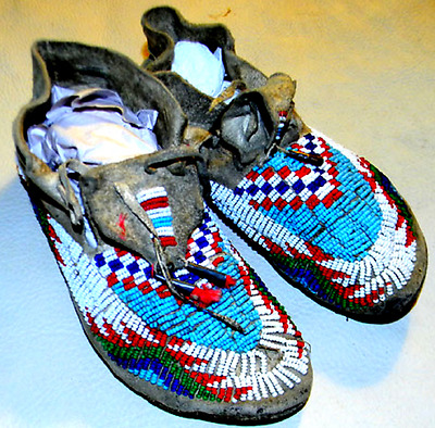 "1880s Vintage Antique 7.5"" Sioux Indian Tanned Buckskin Beaded Moccasins"