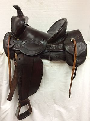 """AL Furstnow Collector #23 13"""" Hard Slick Seat Saddle with Attached Saddle Bags"""