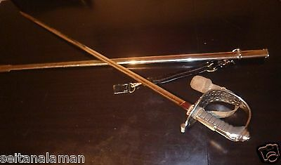 UNIQUE VINTAGE GREEK HELLENIC ROYAL CAVALRY MILITARY OFFICER DRESS SWORD 60s