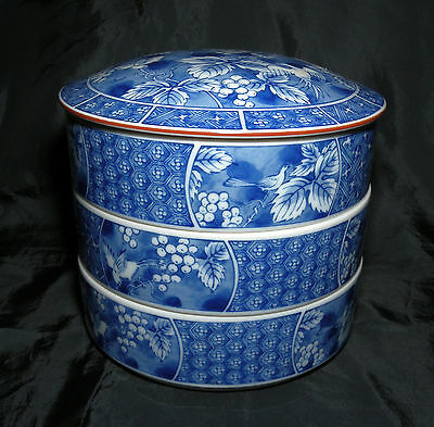 Andrea by Sadek Japanese 3 Tier Jubako Round Porcelain Keepsake Box Free S/H
