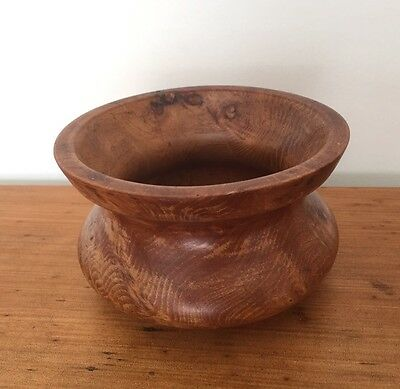 Old Beautiful Walnut Turned Bowl Carved Wood