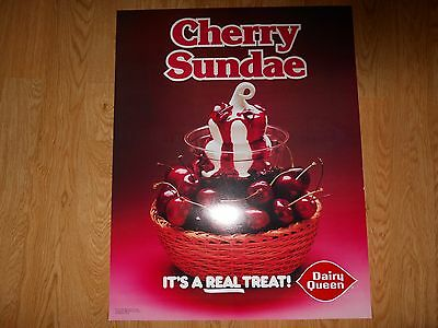 Vintage Dairy Queen Promotional Poster Cherry Sundae 1980